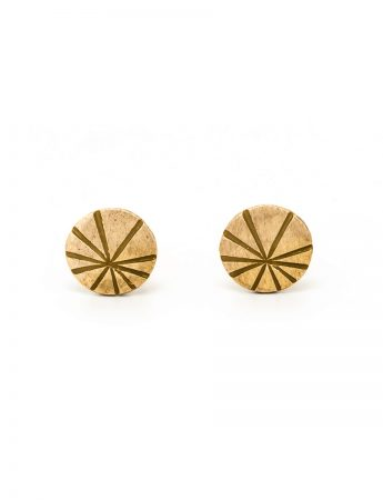 Fan Shell Stud Earrings - Gold