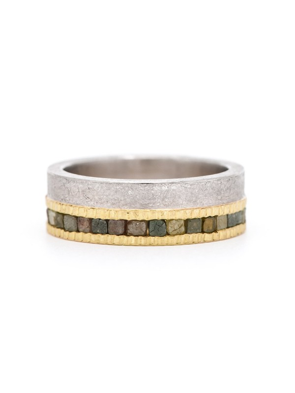 Raw Diamond Eternity Ring – Gold & Palladium