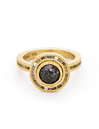 Round Dark Grey Diamond Halo Ring - Gold