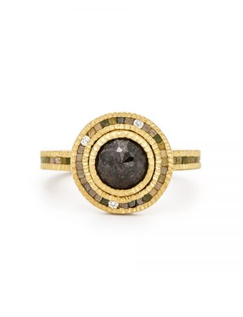 Round Dark Grey Diamond Halo Ring – Gold