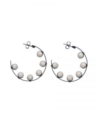 Sphere Hoop Earrings - Grey