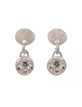 Small Alexandra Earrings - Tourmaline & Sapphire