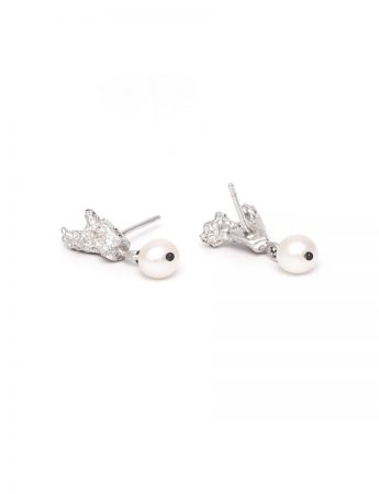 Coral Stud Earrings - Freshwater Pearl