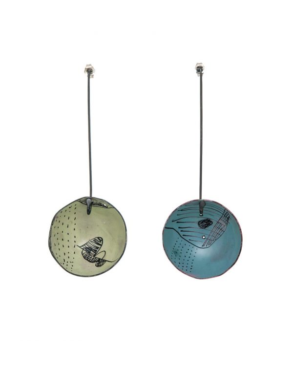 Large Cup Earrings – Blue & Green