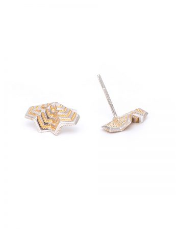 Double Fan Stud Earrings