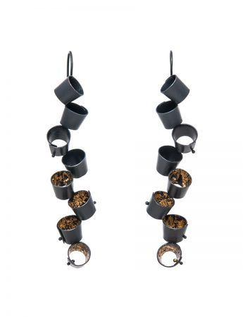Long Foxglove Earrings - Black & Gold