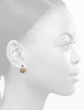 Lotus Stud Earrings – Garnet