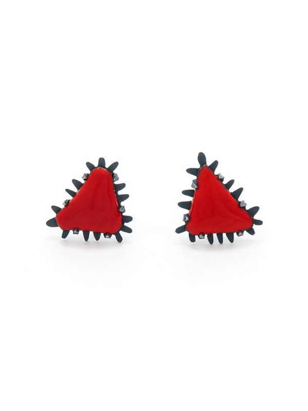 Mini Triangle Stud Earrings – Red
