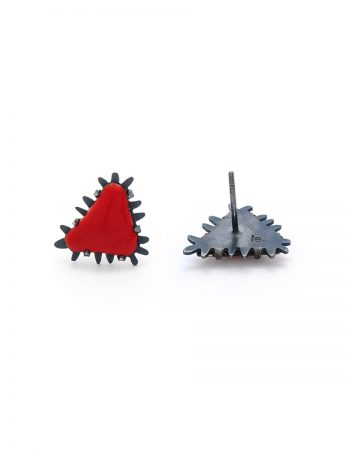 Mini Triangle Stud Earrings - Red