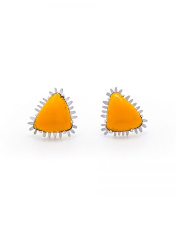 Triangle Enamelled Stud Earrings - Yellow Orange