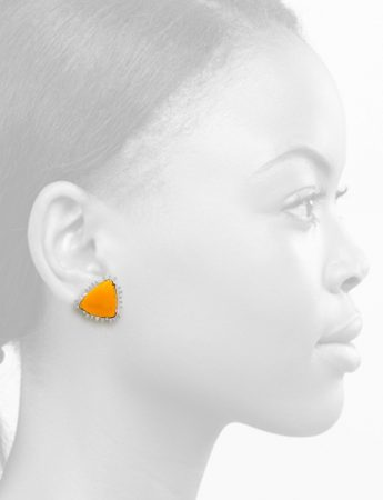Triangle Enamelled Stud Earrings – Yellow Orange