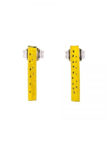 Pipe Stud Earrings - Yellow