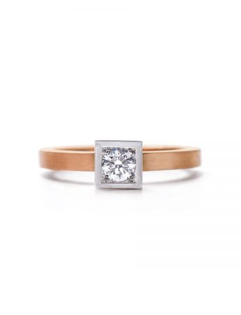 Diamond Solitaire Engagement Ring - Rose & White Gold