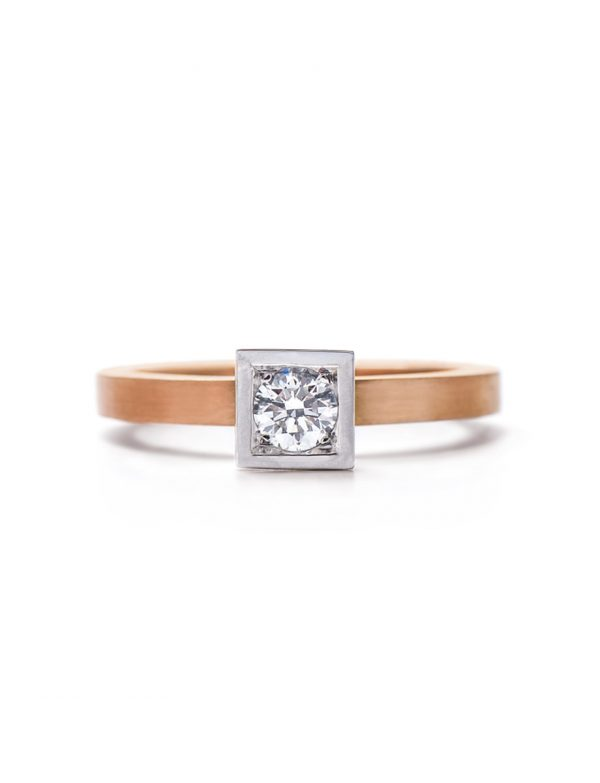 Diamond Solitaire Engagement Ring – Rose & White Gold