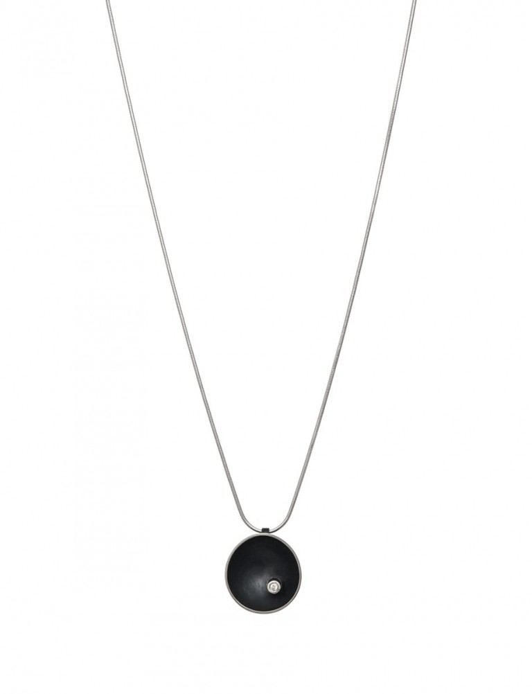 Sea Dish Diamond Pendant Necklace – Black