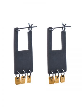 Shikaku Rectangle Earrings - Black & Gold