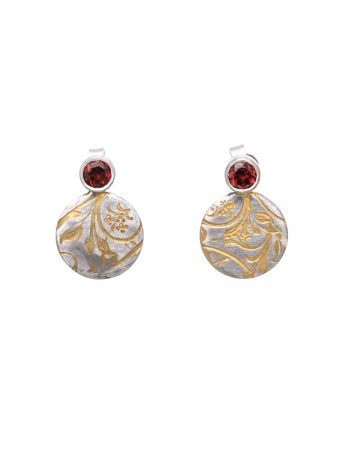 Swirl Stud Earrings - Garnet