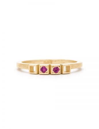 Two Rubies Ring - Gold
