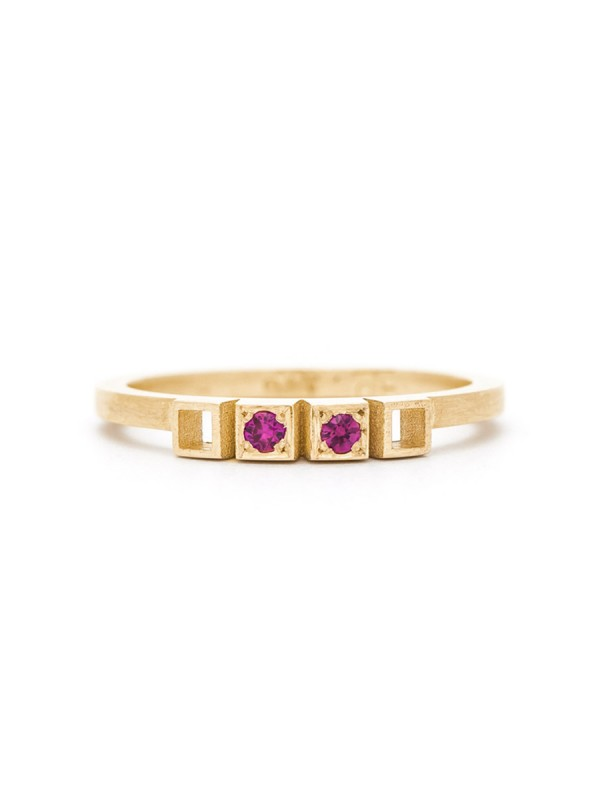 Two Rubies Ring – Gold