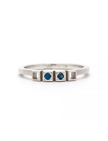 Two Sapphires Ring - White Gold
