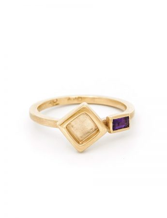 Two Square Ring - Amethyst