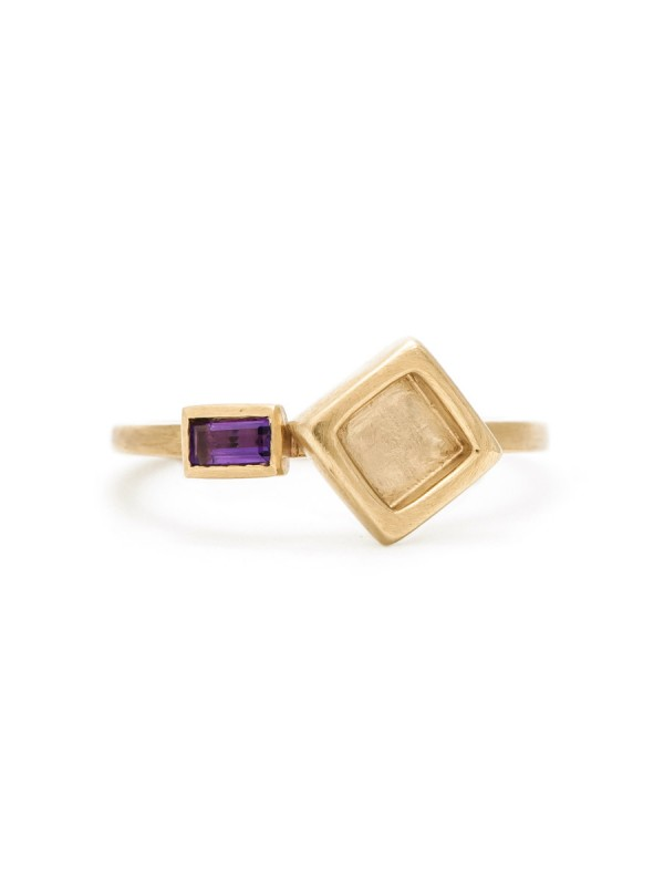 Two Square Ring – Amethyst