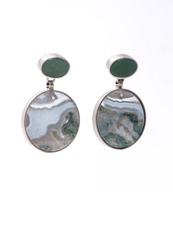 Stone Earrings - Amazonite & Agate