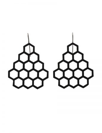 Big Hexagon Earrings - Black