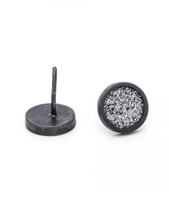 Grey Glitter Spot Stud Earrings - Black Edge