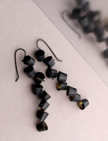 Long Foxglove Earrings – Black & Gold