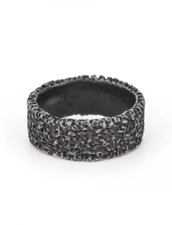 Wide Sunken Oxidised Ring