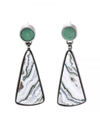 Stone Earrings - Variscite & Lace Agate