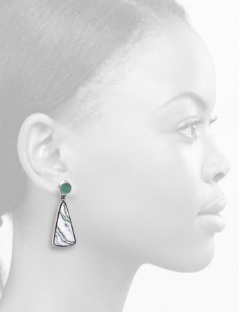 Stone Earrings – Variscite & Lace Agate