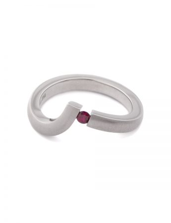 Angled Tension Set Ring - Ruby & White Gold