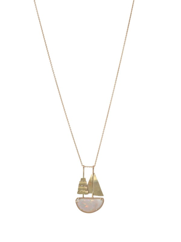 Opal Travelling Ship Necklace