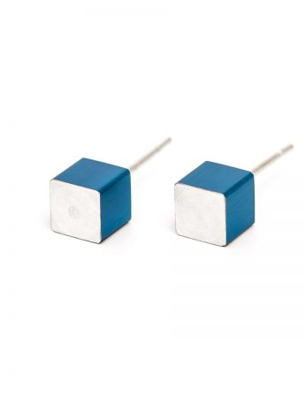 Cubist Stud Earrings - Blue Side