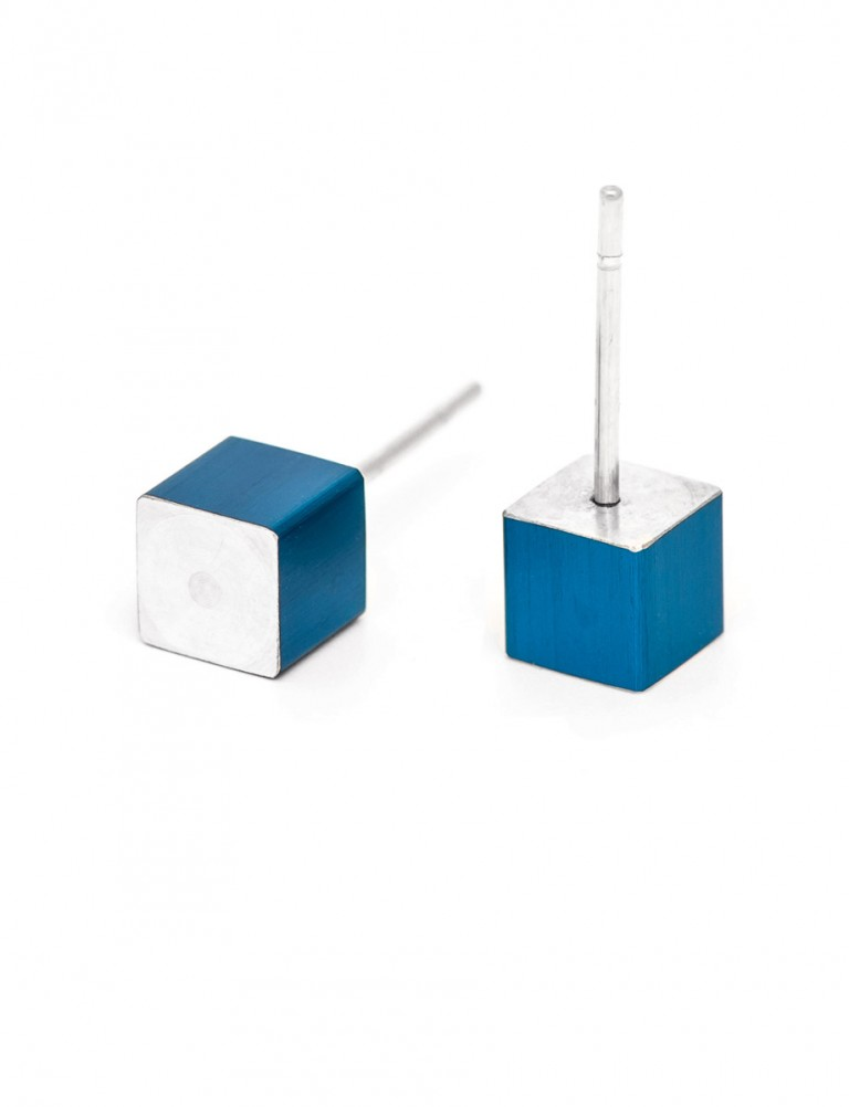 Cubist Stud Earrings – Blue Side