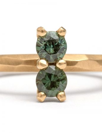 Dark Green Double Sapphire Ring