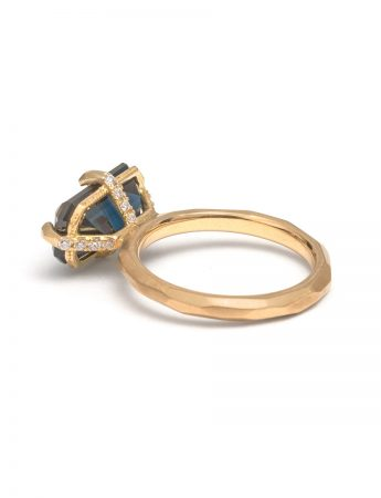 Deep Blue Emerald Cut Sapphire & Diamond Ring
