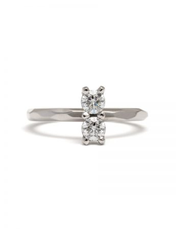 Double Diamond Ring – White Gold