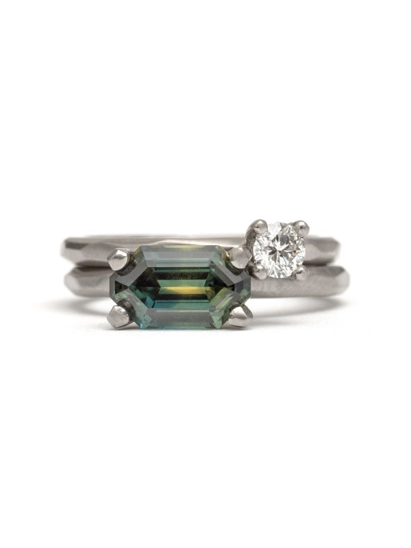 Emerald Cut Yellow & Blue Parti Sapphire Ring