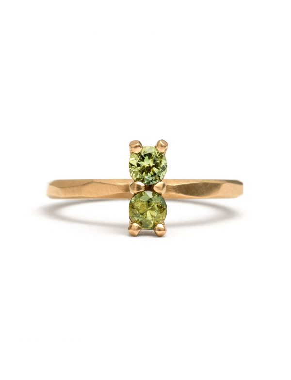 Light Green Double Sapphire Ring