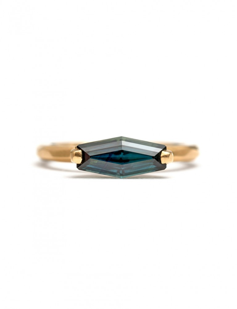 Medium Blue Stretched Hexagon Sapphire Ring
