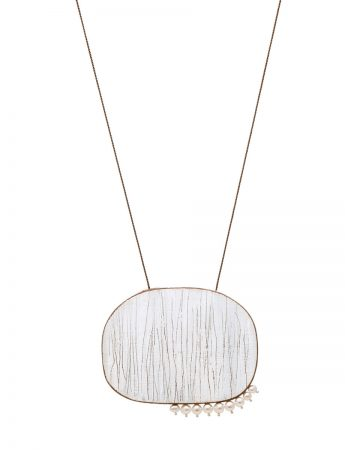 White Haze Pendant Necklace - Pearl