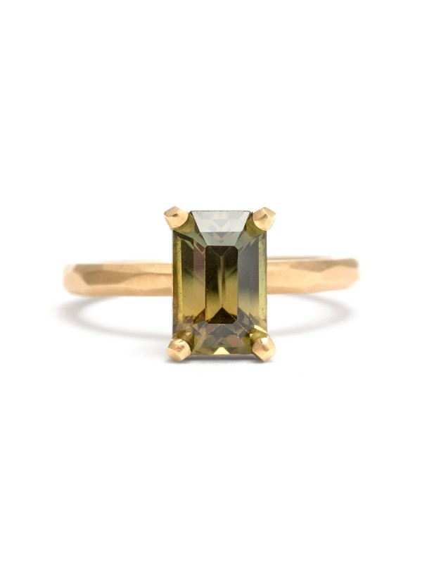 Olive Green Sapphire Ring