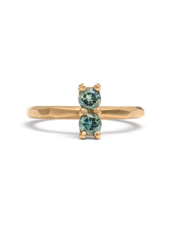 Pale Teal Double Sapphire Ring