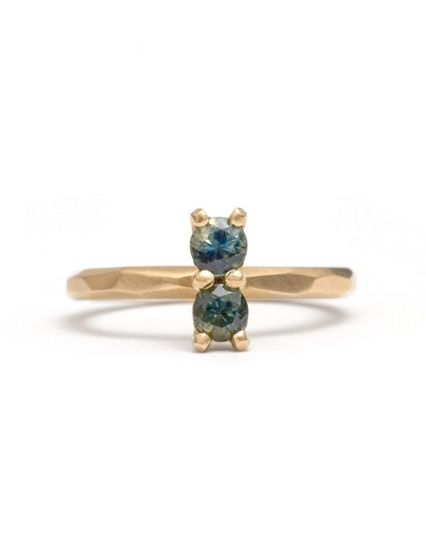 Teal Blue Double Sapphire Ring