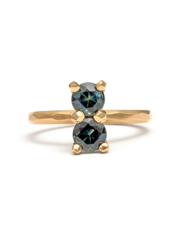 Teal Double Large Sapphire Ring
