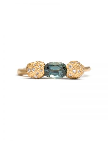 Teal Oval Cut Sapphire & Diamond Ring