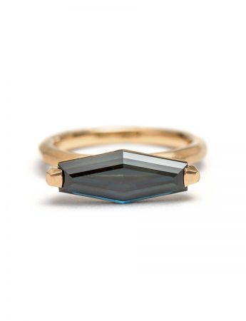 Teal Stretched Hexagon Sapphire Ring